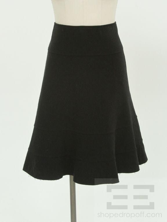 JUNYA Watanabe Comme Des Garcons Black Wool Ruffle Trim A Line Skirt