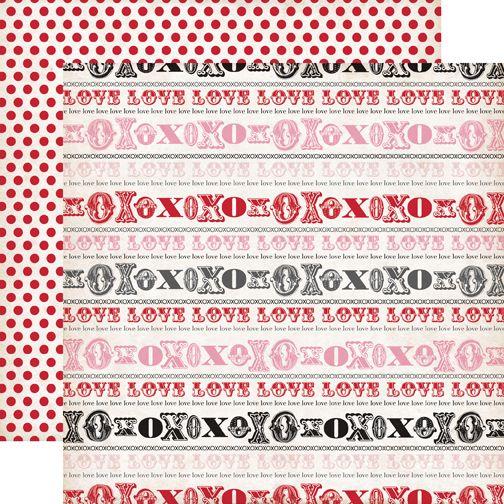 Echo Park Yours Truly 12x12 Scrapbook Paper Hugs Kisses YT24004
