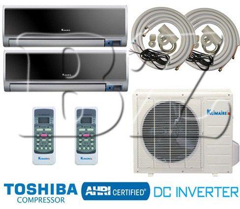 klimaire dual zone 2x12000 btu ductless split air conditioner heat