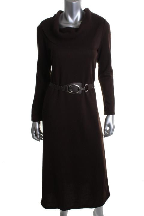 Nina Leonard New Brown Ribbed Cowl Neck Belted Sweaterdress L BHFO