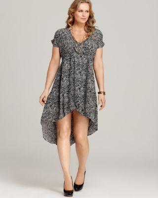 Love ady New Black White Printed Faux Wrap Hi Low Hem Casual Dress
