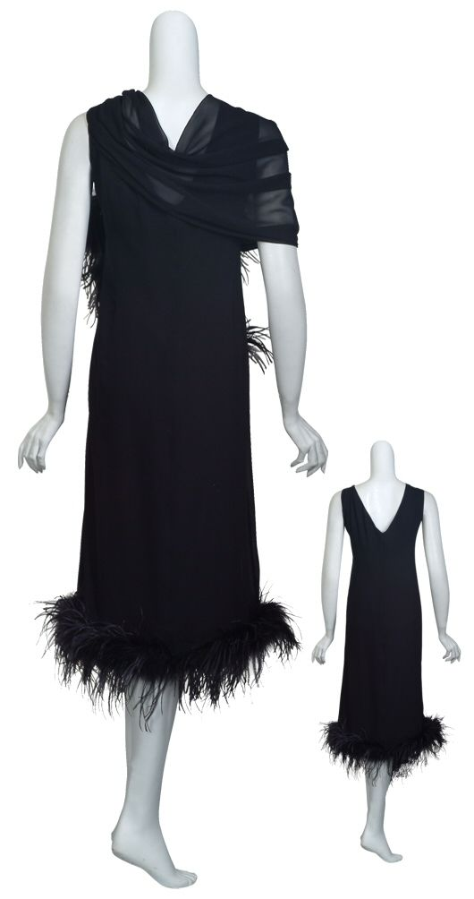 Marina Rinaldi Exquisite Black Silk Marabou Feathers Gown Dress Womens