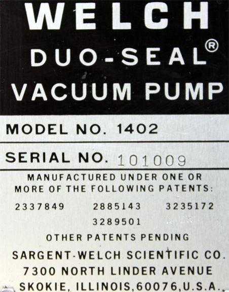 Welch 1402 Duoseal Belt Driven Rotary Vane Vacuum Pump
