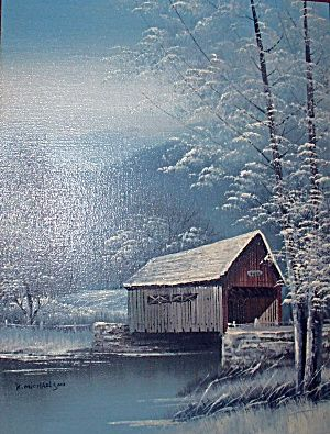 Scene Oil Painting Covered Bridge Trees River Artist Michaelson