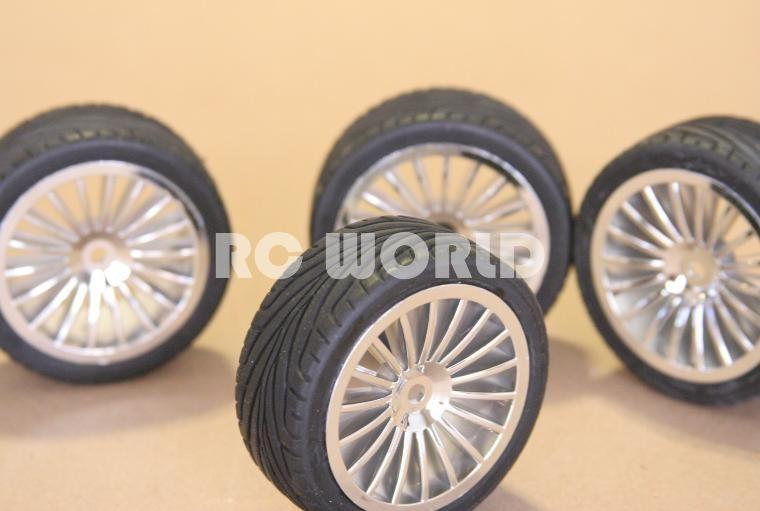 RC 1 10 Car Tires Wheels Rims Chrome Kyosho Tamiya