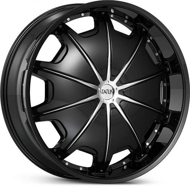 28x9 5 Black Status Opus Wheels Rims Chevy GMC Sierra Dodge 2500 3500