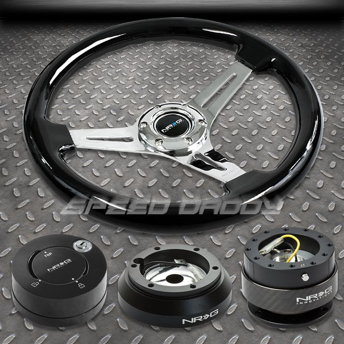 NRG Black Steering Wheel Hub Carbon Quick Release MB Lock Kit 91 05