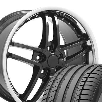 Black Corvette Z06 Style Wheels Conti Tires Rims Fit Camaro