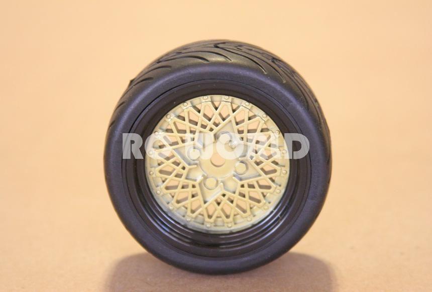 RC 1 10 Car Tires Wheels Rims Package Tamiya HPI Trans Am Gold Mesh
