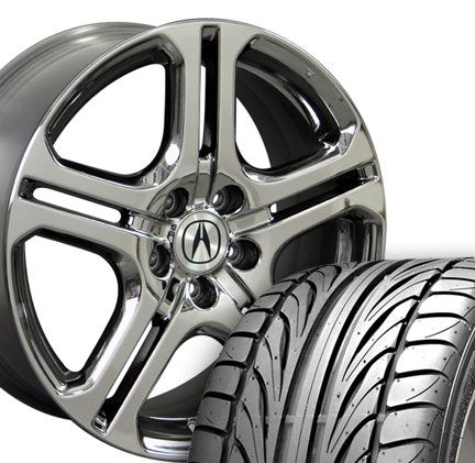 x7.5 OEM Acura Black Chrome TL Wheels Rims with Falken FK452 ZR Tires