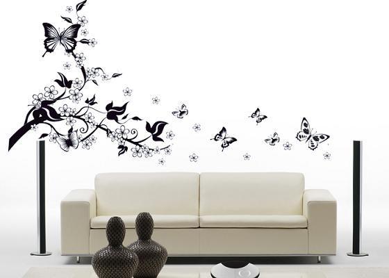 Floral Butterfly Vine Wall Sticker Art Decor Mural Living Room