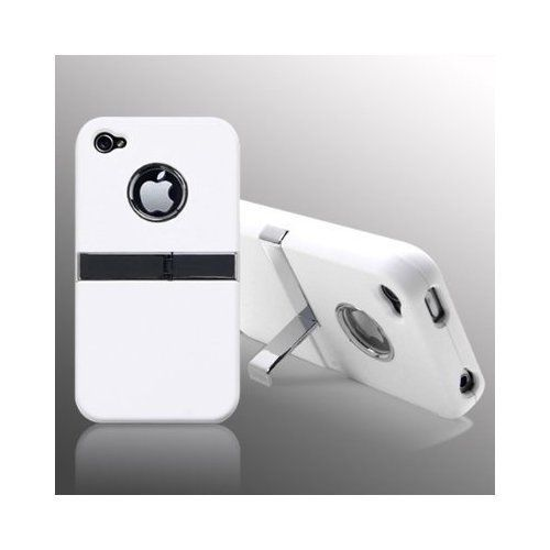 White Deluxe Hard Case Cover W/Chrome Stand for Apple iPhone 4S 4 4G