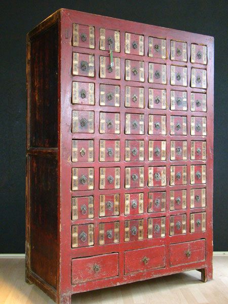 Antik Apothekerschra Nk Rot Schrank China Mobel Asiatika Hh04m43