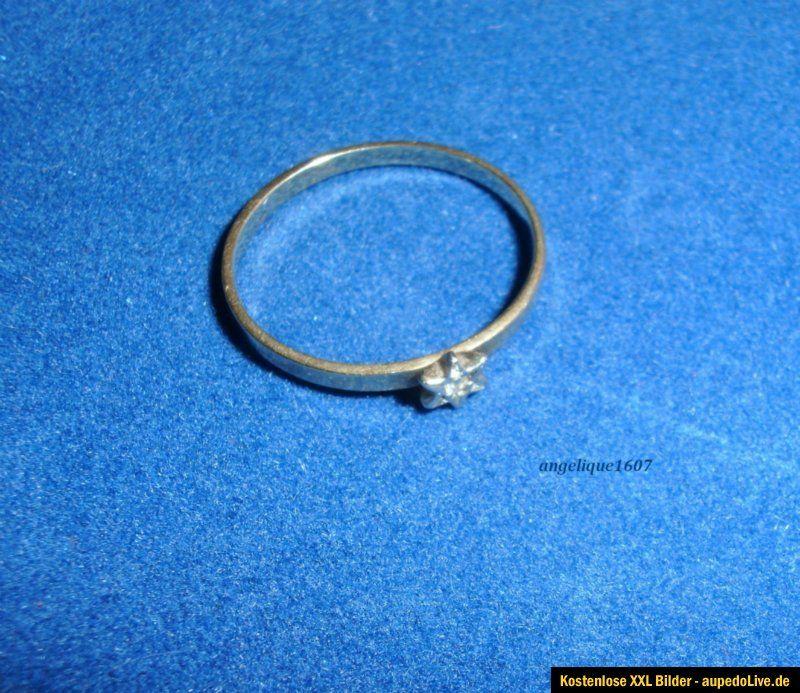 Zierlicher schöner Ring mit kleinem Stern * Diamant * Gold 585 * 14