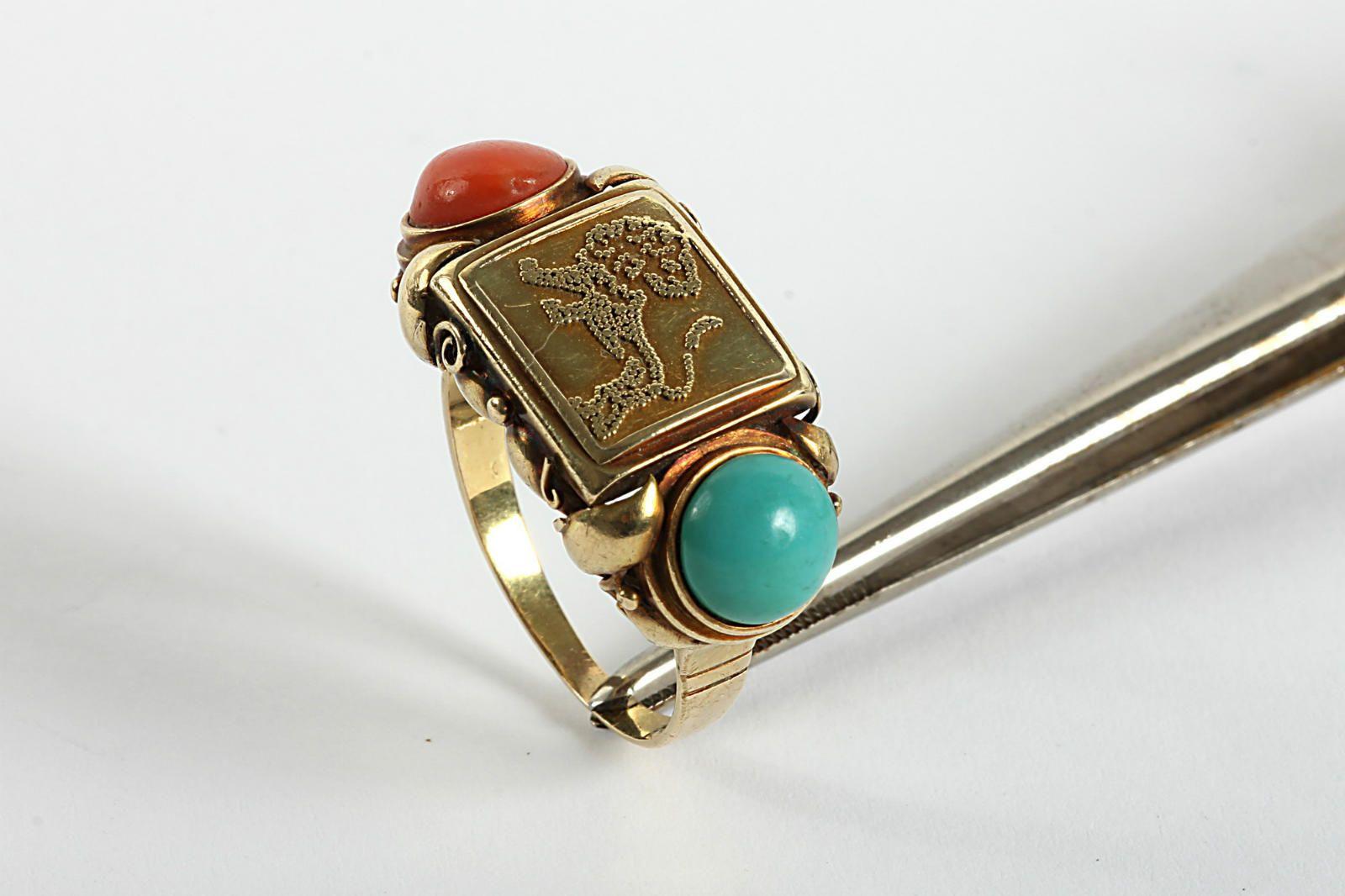 GELEGENHEIT AUS PRIVATBESITZ#393 ANTIKER RING GOLD 585 MIT TÜRKIS