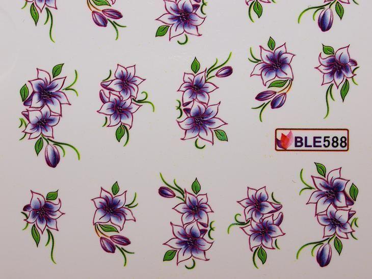 Nail Art Sticker Tattoo One Stroke BLE 588 lila