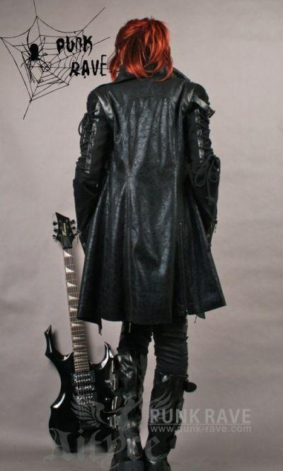 Jacke Mantel Larpmantel Visual Kei Punk Rave Rock Gothic Schwarz
