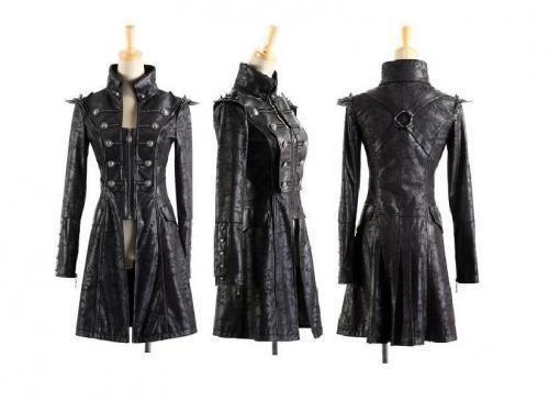 Visual Kei Punk Rave Rock Gothic Leder Schwarz Jacket Coat Jacke